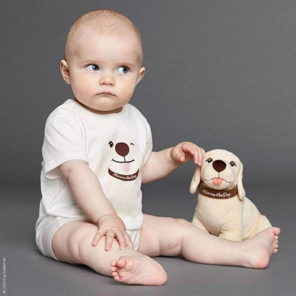 DOLCE & GABBANA Baby Boy Ivory Mimmo the Dog Shortie & Bib Gift Set