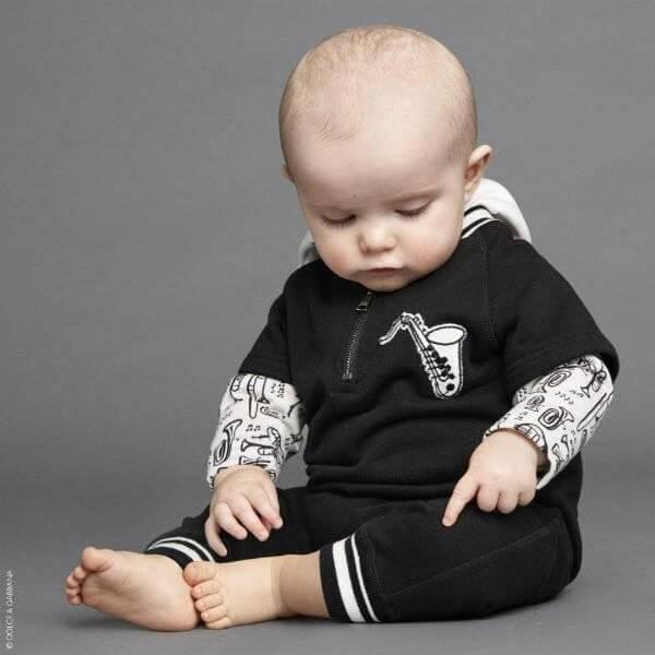 DOLCE & GABBANA Baby Boy Musical Instruments Romper Suit