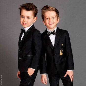 DOLCE & GABBANA Boys Black Wool & Gold Guitar Blazer Suit Pants