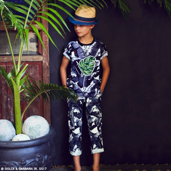 DOLCE & GABBANA Boys Mini Me Grey Banana Leaf T-Shirt & Pants
