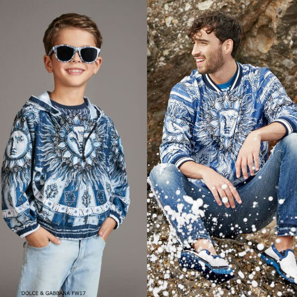 DOLCE GABBANA Boys Mini Me Blue Windcheater Jacket
