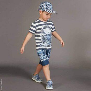 DOLCE & GABBANA Boys White & Blue Capri T-Shirt & Shorts