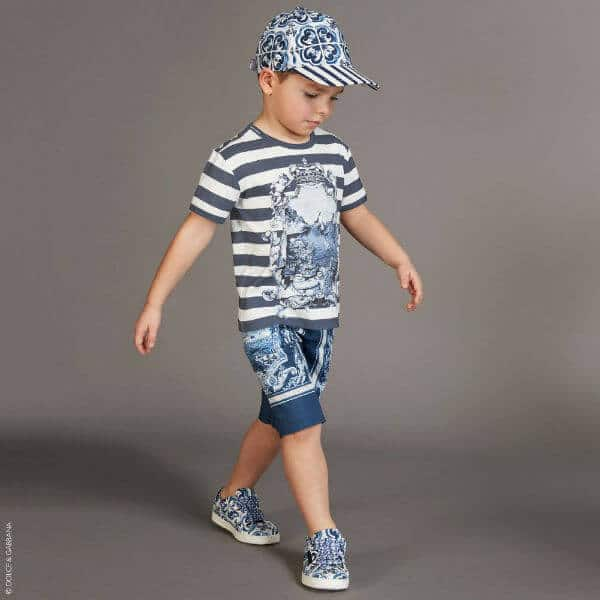 DOLCE & GABBANA Boys White & Blue Capri T-Shirt & Shorts