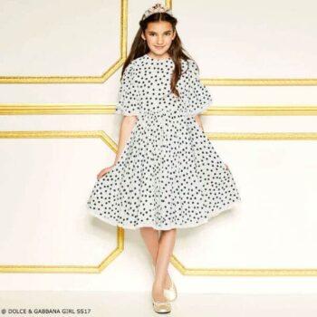 DOLCE & GABBANA Girls White Polka Dot Silk Party Dress