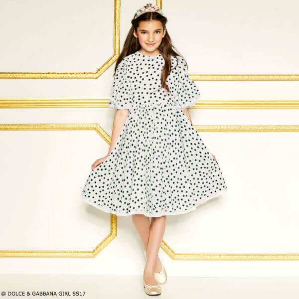 DOLCE & GABBANA Girls White Polka Dot Silk Party Dress