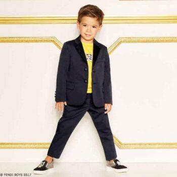 FENDI Boys Navy Blue Two Piece Suit