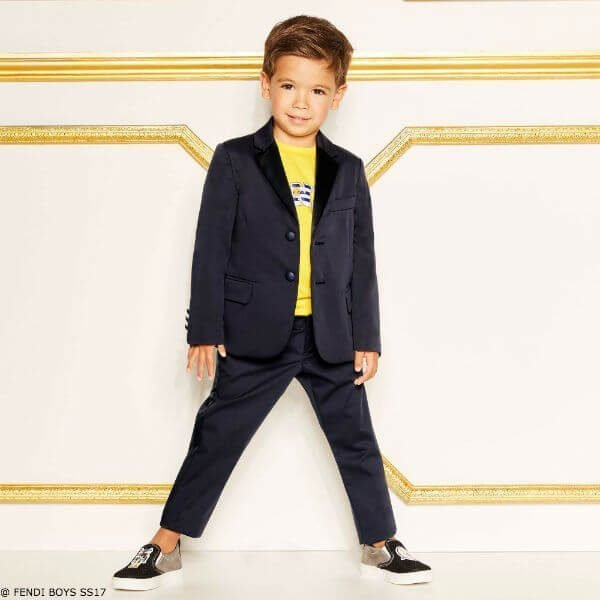 FENDI Boys Navy Blue Two Piece Suit