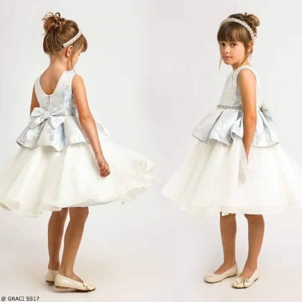 GRACI Girls Blue & Ivory Brocade Peplum Party Dress