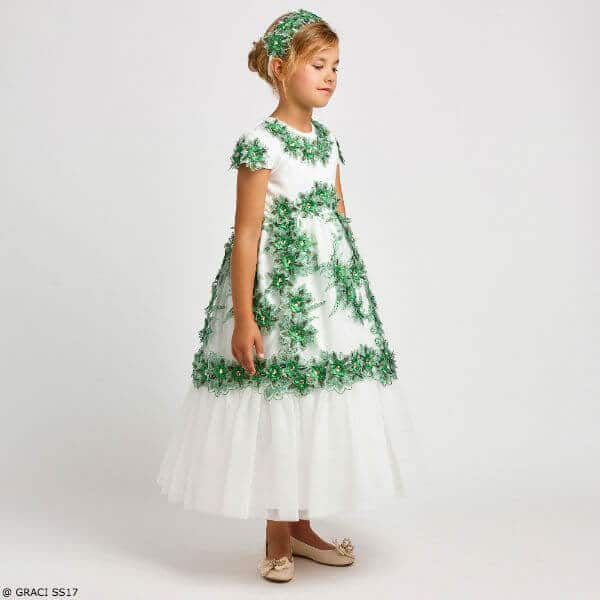GRACI Girls Ivory & Green Long Lace Party Dress