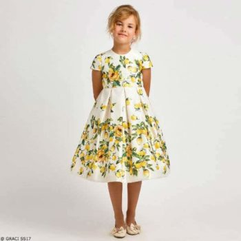 GRACI Girls Ivory Satin Lemon Print Party Dress