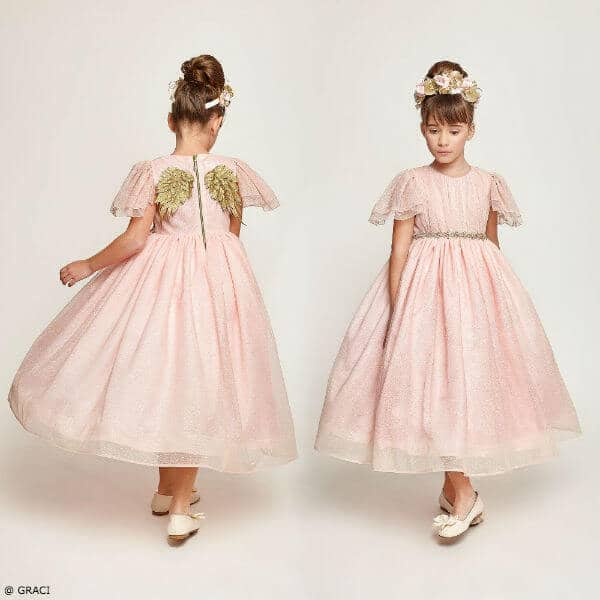 GRACI Girls Long Pink Tulle Party Dress