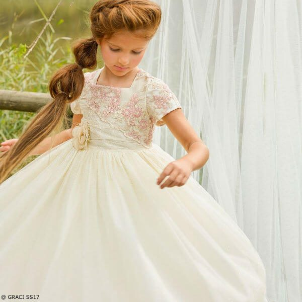 GRACI Girls Pink & Gold Long Tulle Party Dress