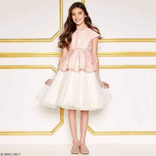 GRACI Girls Pink & Ivory Brocade Peplum Party Dress