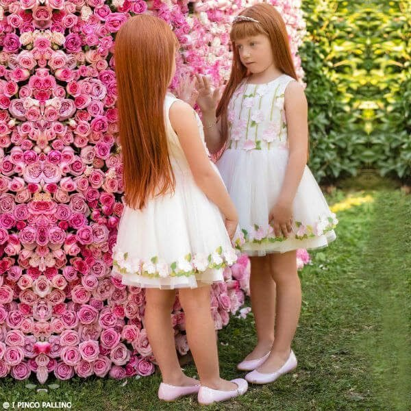 I PINCO PALLINO Girls Pink Tulle Party Dress with Flower Appliques