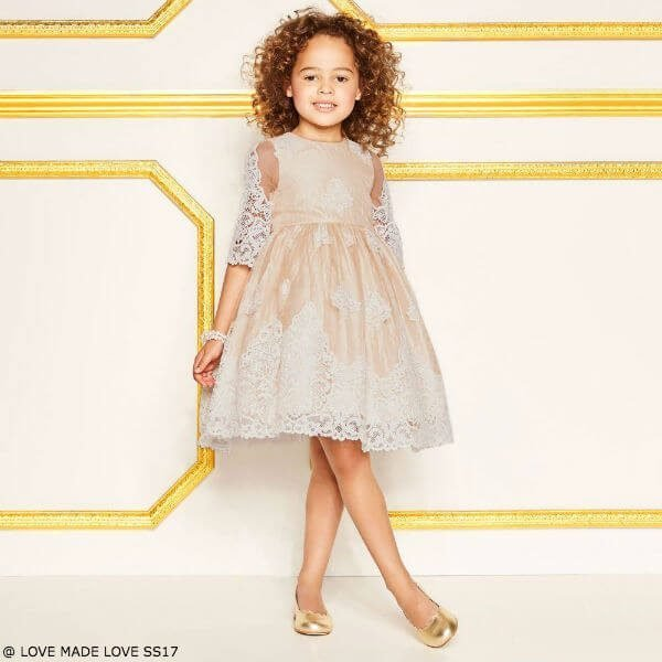 LOVE MADE LOVE Girls Special Occasion Gold & Ivory Lace Dress