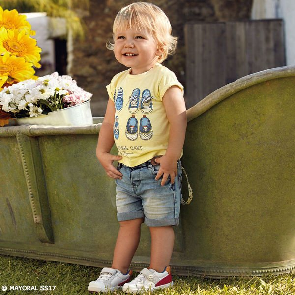 MAYORAL Baby Boys Yellow Shoes Print T-Shirt Jean Shorts