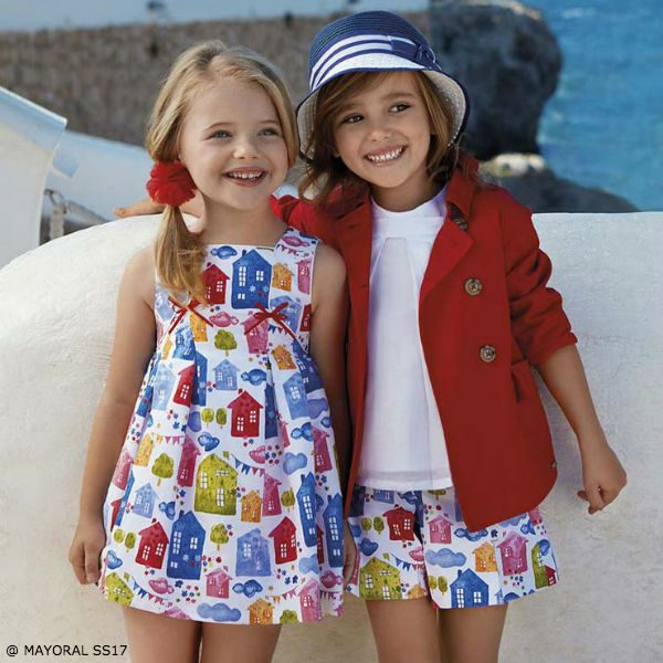 MAYORAL CHIC Girls White House Print Dress & Red Trenchcoat