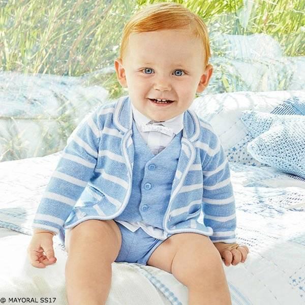 MAYORAL NEWBORN BABY BOY LIGHT BLUE VEST, SHORTS & STRIPED SWEATER