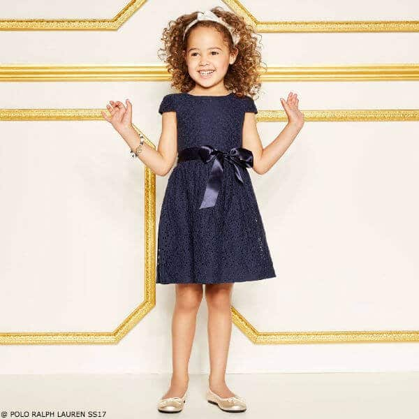 POLO RALPH LAUREN Girls Navy Blue Lace Party Dress