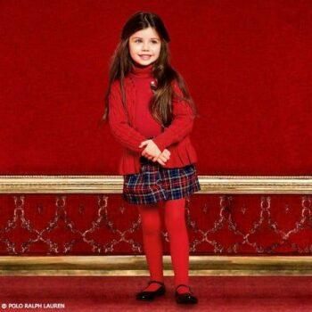 POLO RALPH LAUREN Girls Red Cable Knit Peplum Cardigan