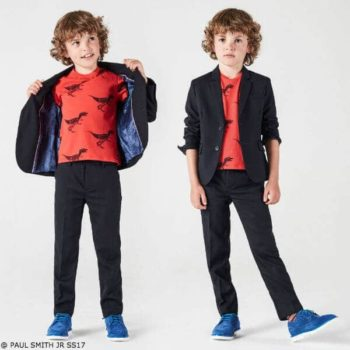 Paul Smith Junior Boys Navy Suit and Red Dinosaur Shirt