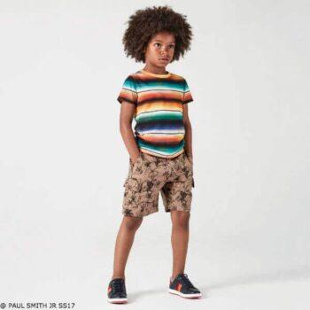 Paul Smith Junior Boys Rainbow Color Shirt and Brown Linen Print Shorts