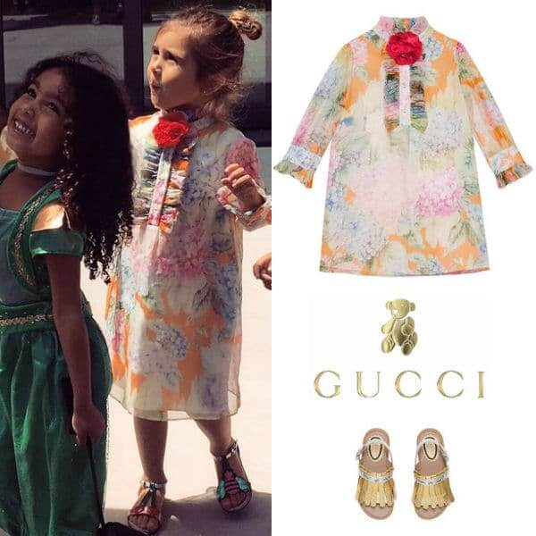 Penelope Disick Gucci Mini Hydrangea Print Silk Dress