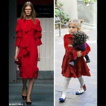 Penelope Gucci Girls Mini-Me Silk Red Ruffle Dress Valentines Day