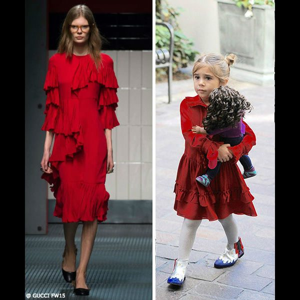 Penelope Gucci Girls Mini-Me Silk Red Ruffle Dress Valentines Day