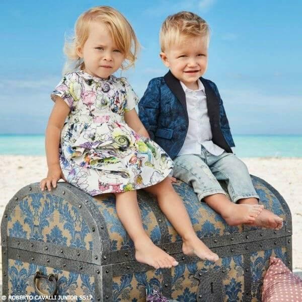 ROBERTO CAVALLI Baby Boys Lion Jacket Girls White Silk Dress