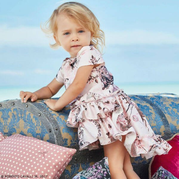ROBERTO CAVALLI Baby Girls Silk Secret Garden Party Dress