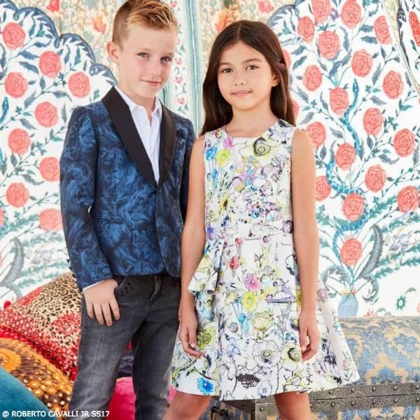ROBERTO CAVALLI BOYS LION JACKET & GIRLS WHITE SILK DRESS
