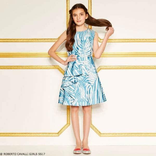 ROBERTO CAVALLI Girls Blue Silk Party Dress