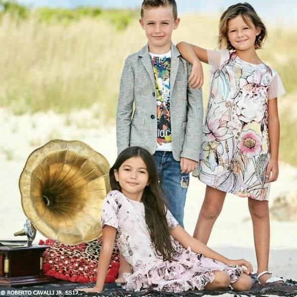 ROBERTO CAVALLI Girls Silk Leopard Print Dress