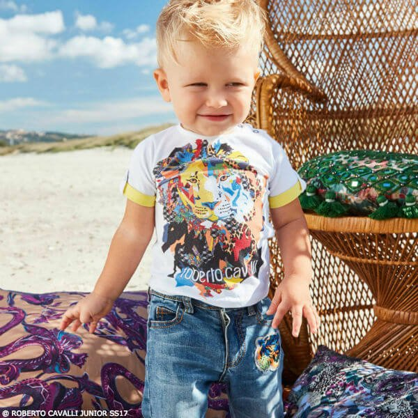 Roberto Cavalli Baby Boys Lion T-shirt & Denim Jeans