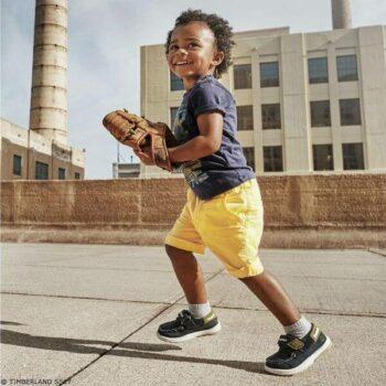 TIMBERLAND Boys Blue Surf Board T-Shirt & Yellow Organic Cotton Shorts