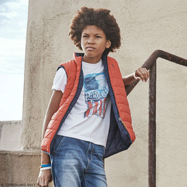 TIMBERLAND Boys Red Vest & Cityscape Print T-Shirt