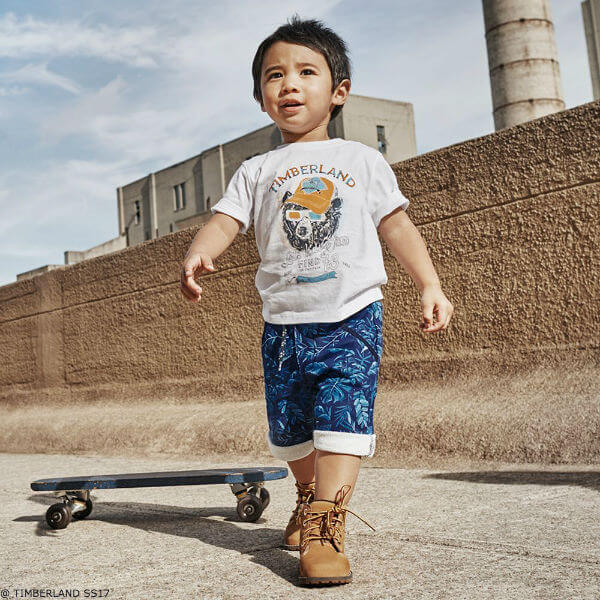 TIMBERLAND Baby Boys White Bear T-shirt & Blue Leaf Print Shorts