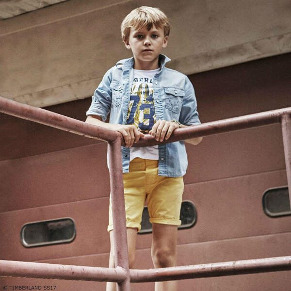 TIMBERLAND Boys White Surf Print T-shirt and Yellow Shorts