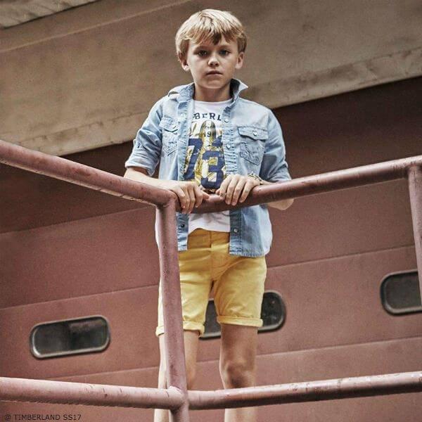 TIMBERLAND Boys White Surf Print T-shirt and Yellow Shorts
