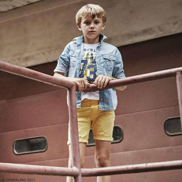 TIMBERLAND Boys White Surf Print T-Shirt & Yellow Shorts