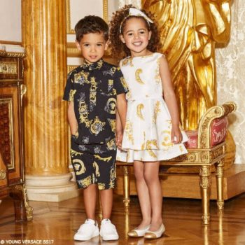 YOUNG VERSACE Girls Gold Baroque Print Dress & Boys Black & Gold Cotton
