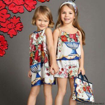 DOLCE & GABBANA Girls Blue Vaso Fiori Dress
