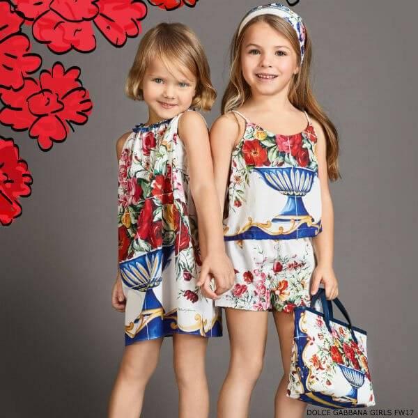 DOLCE & GABBANA Girls Blue Mini Me Vaso Fiori Dress