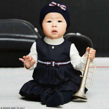 ARMANI BABY Baby Girls Blue Pleated Dress