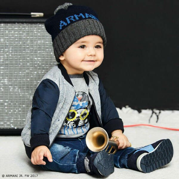 ARMANI BABY Boys Grey Bulldog Shirt Sweatshirt Blue Jog Jeans