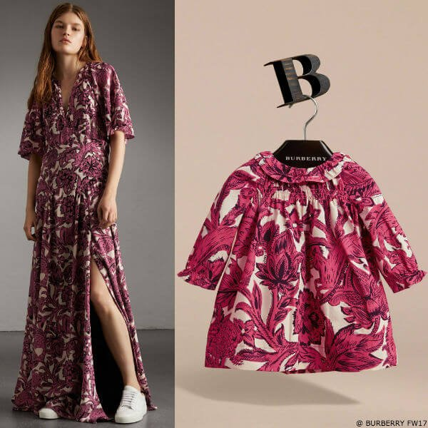 Burberry Beasts Baby Girl Pink Mini Me Print Cotton Smock Dress