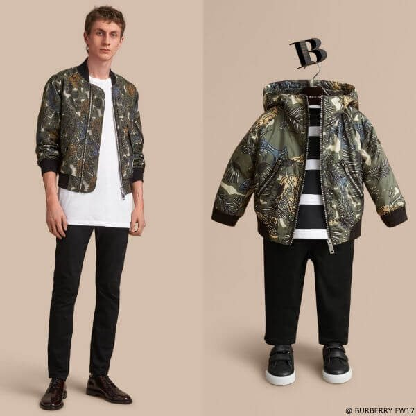 Burberry Beasts Boys Mini Me Print Hooded Bomber Jacket