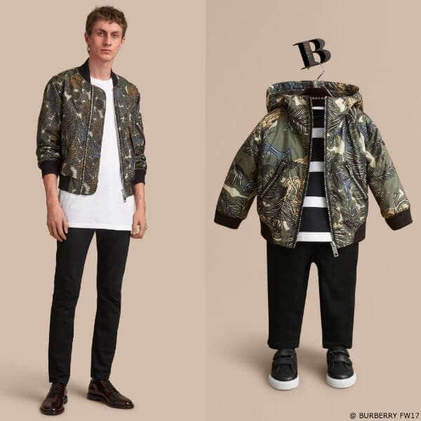 Burberry Boys Mini Me Beasts Print Hooded Bomber Jacket