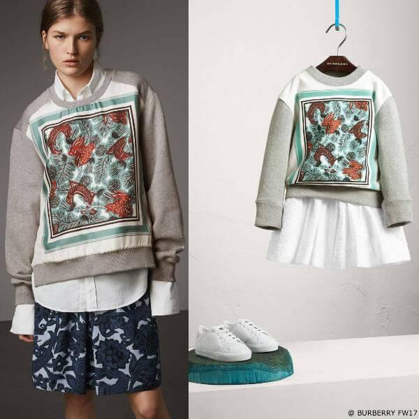 Burberry Beasts Girls Mini Me Print Silk Panel Sweatshirt